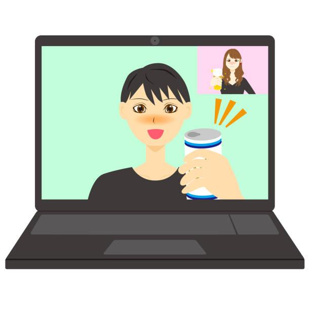 illustrazioni stock, clip art, cartoni animati e icone di tendenza di boy and girl talking online. vector illustration. - woman chat video mobile phone