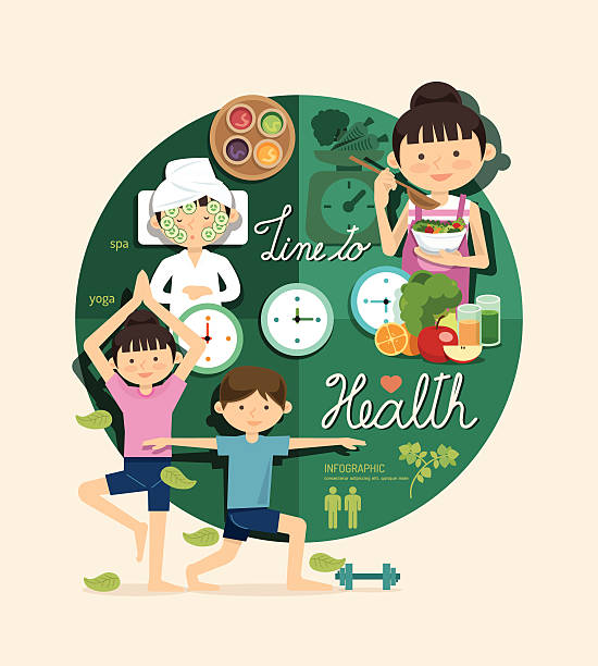 Boy and girl time to health beauty design infographic vector art illustration