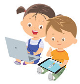 Vector boy and girl using tablet pc