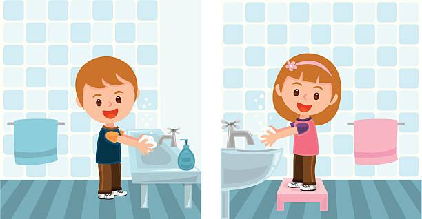 jungen und mädchen hände waschen - hände wasser waschen stock-grafiken, -clipart, -cartoons und -symbole