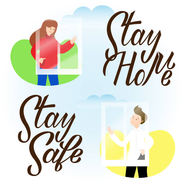 Boy and girl waving hands to each other in windows. Stay home stay safe hand drawn lettering. Corona virus, covid-19 concept. Safety alert banner. Vector vector art illustration