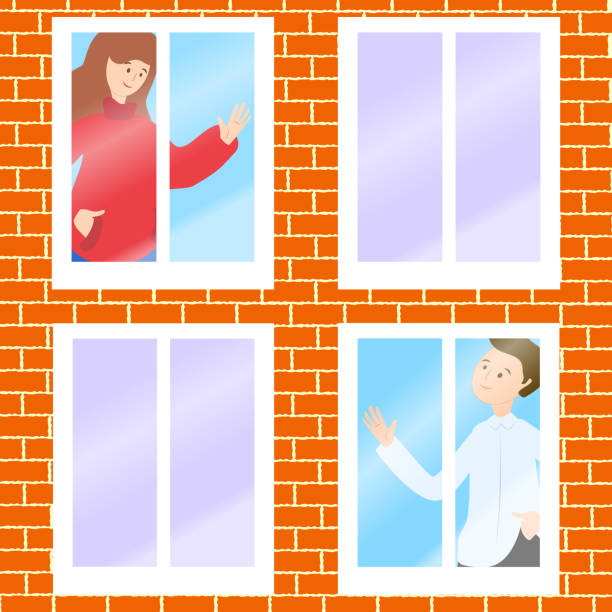 Boy and girl waving hands to each other in windows. Stay home stay safe hand drawn illustration. Corona virus, covid-19, home dating concept. Safety alert banner. Vector vector art illustration