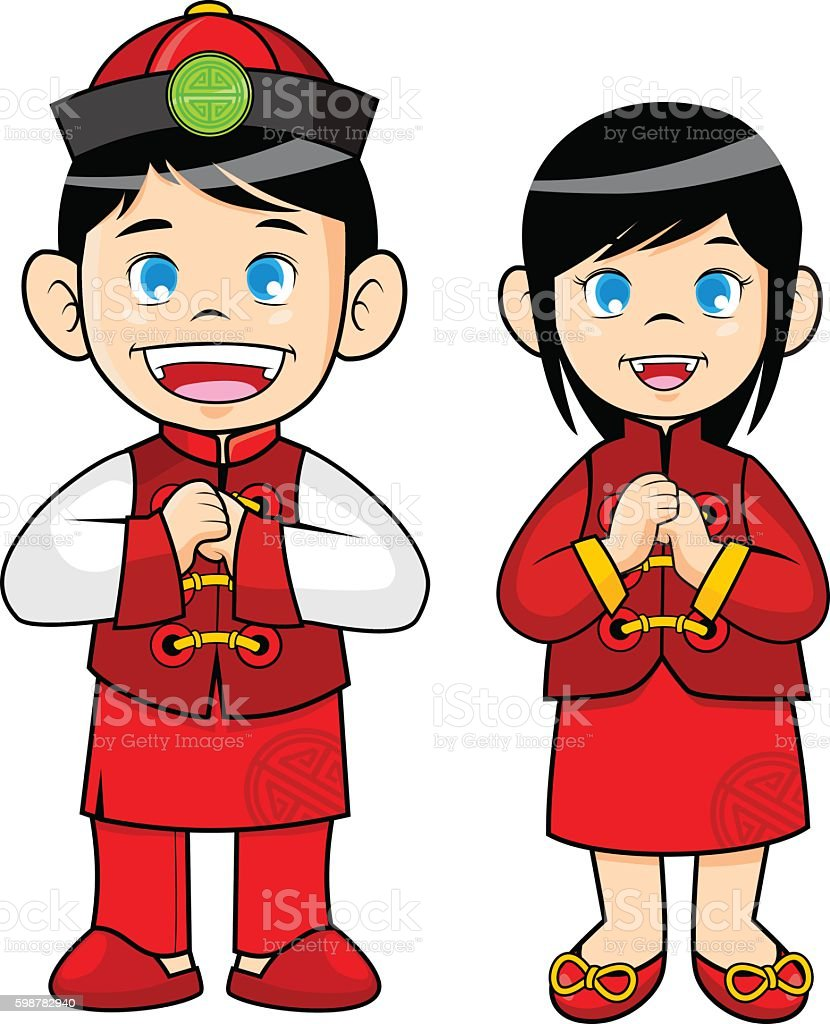 boy and girl wearing traditional chinese clothes stock