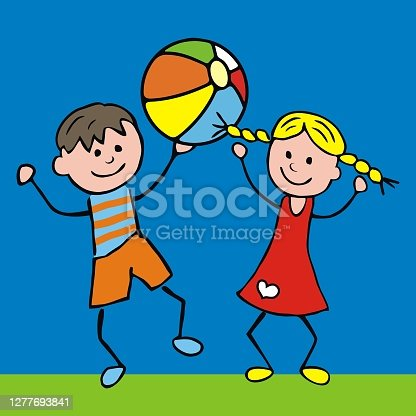 istock Boy and girl with ball, vector illustration 1277693841