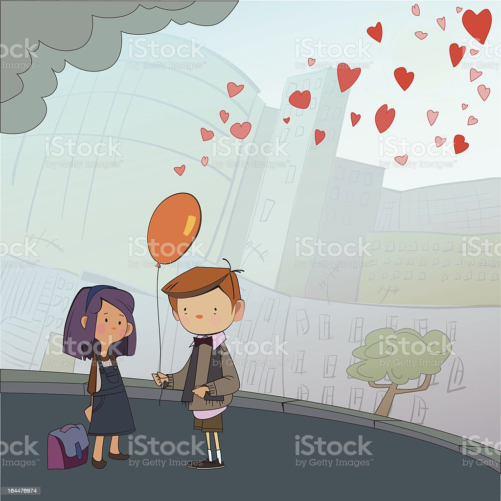 boy and girl with balloon royalty-free stock vector art