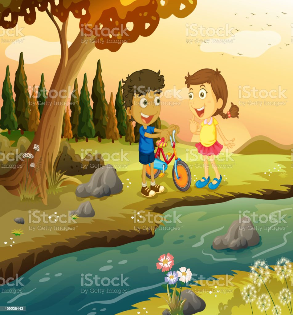 boy and girl with bike standing at the riverbank royalty-free boy and girl with bike standing at the riverbank stock vector art & more images of adult