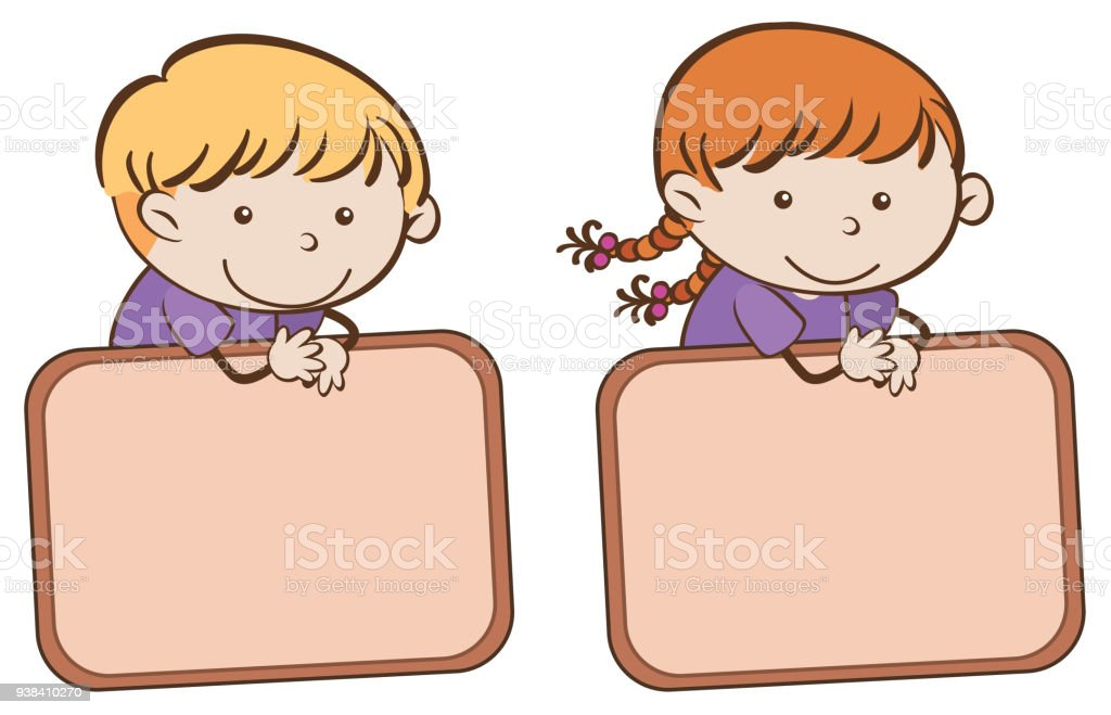 boy and girl with border template stock vector art more images of