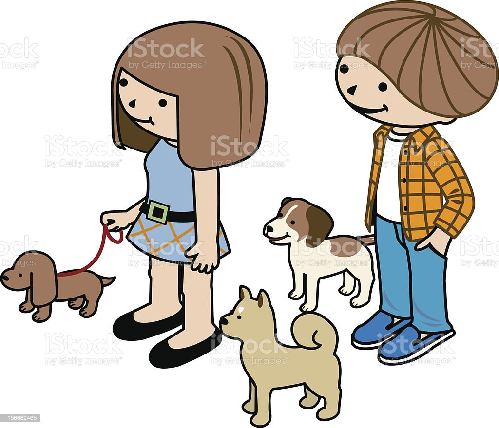 Boy and girl with dogs. royalty-free stock vector art