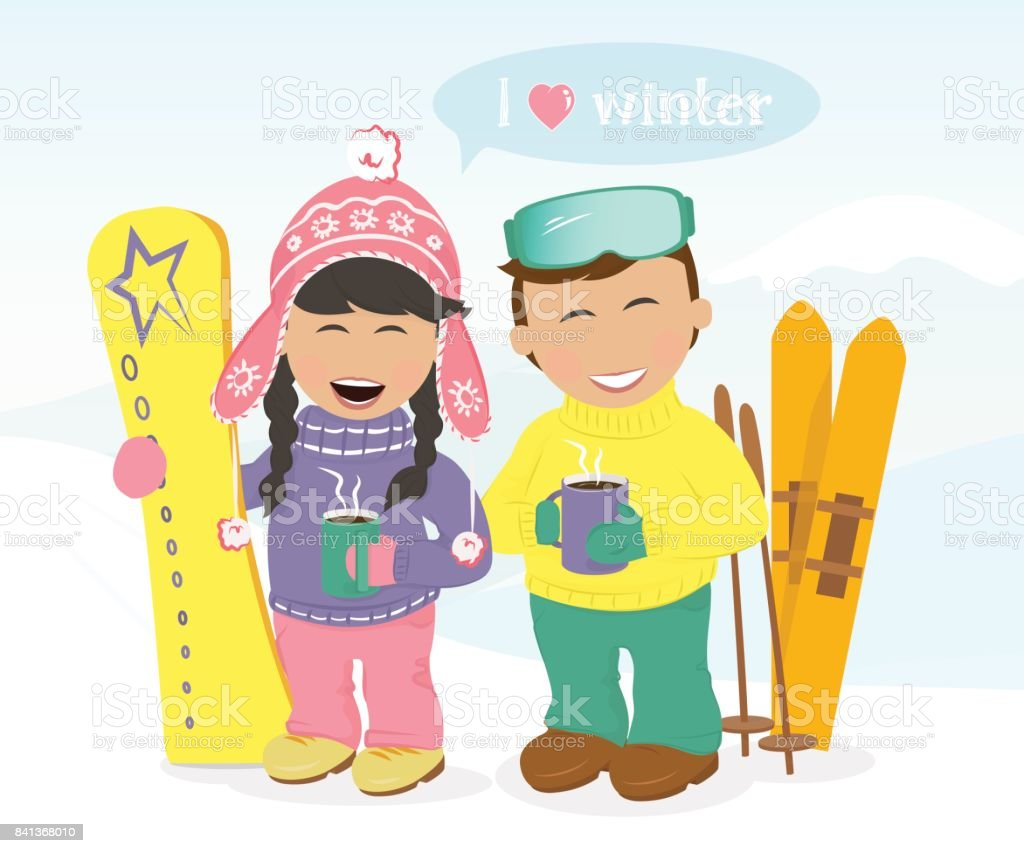 Boy and girl with skis and snowboard drinking coffee. vector art illustration