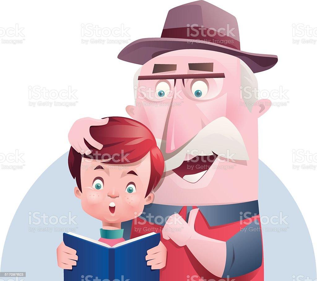 boy and grandpa reading vector art illustration