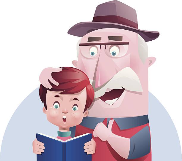 ilustraciones, imágenes clip art, dibujos animados e iconos de stock de niño y grandpa lectura - nieto