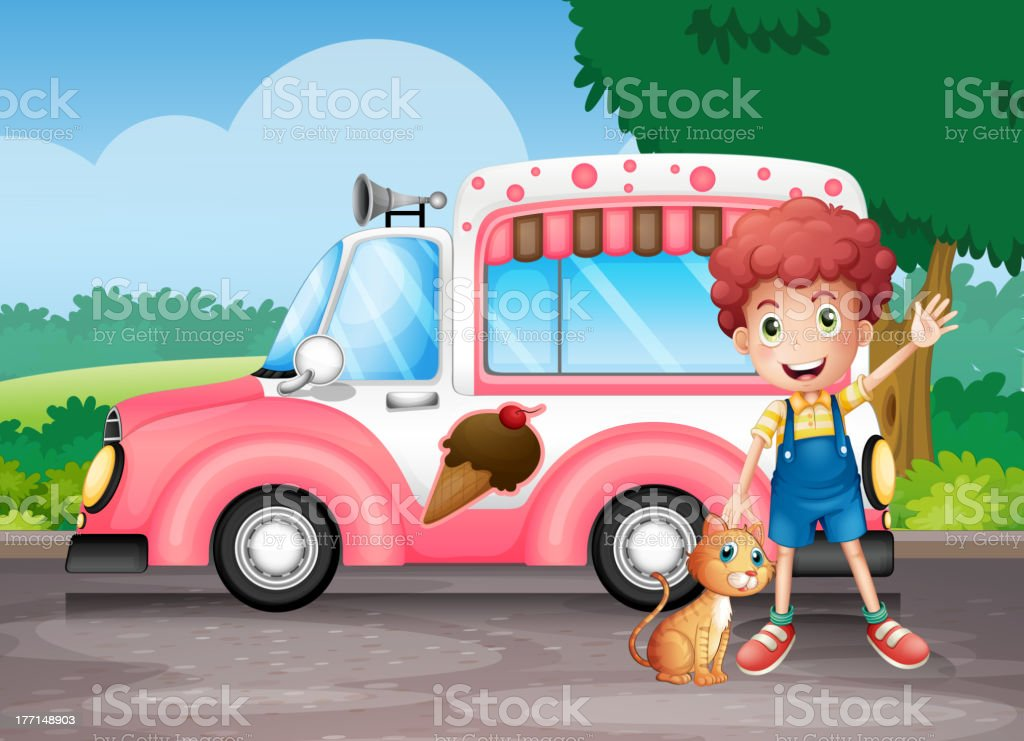 Boy and his cat near a pink bus royalty-free boy and his cat near a pink bus stock vector art & more images of adult