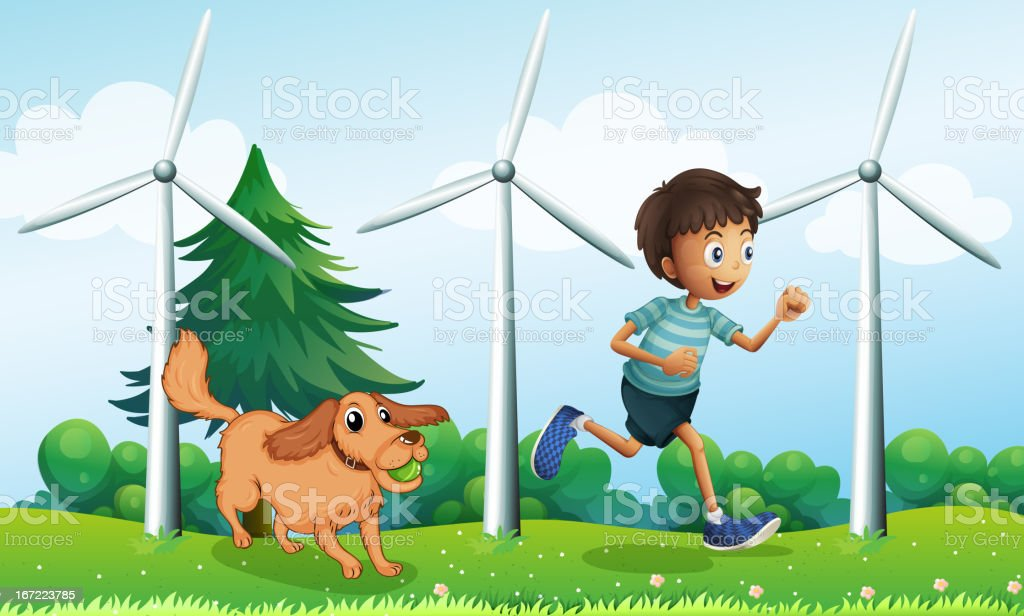Boy and his dog near the three windmills royalty-free stock vector art