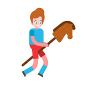 Boy and Horse stick toy wooden. Child game vector