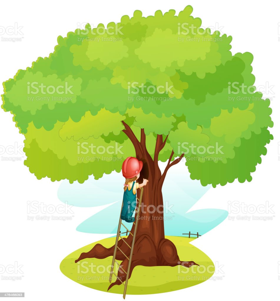 Boy and ladder under tree vector art illustration
