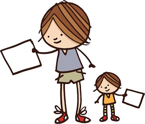 少年と妹保持空白の紙 - 姉妹点のイラスト素材/クリップアート素材/マンガ素材/アイコン素材