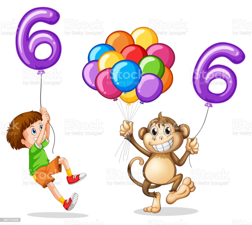 Boy and monkey with balloon number six vector art illustration