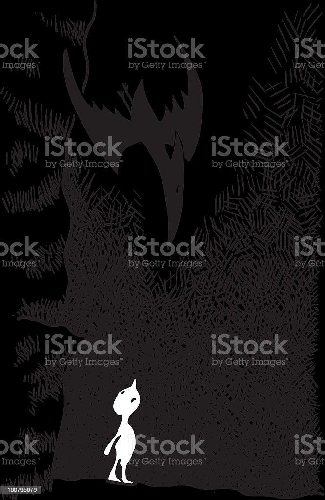 Boy and Pterosaur vector art illustration