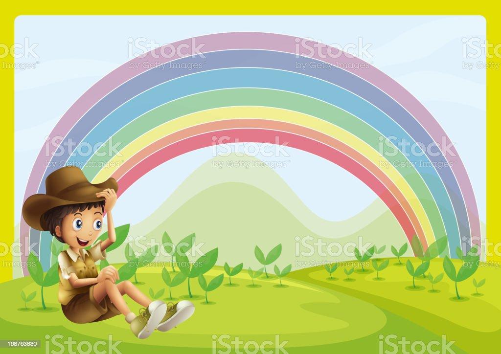 Boy and rainbow royalty-free stock vector art