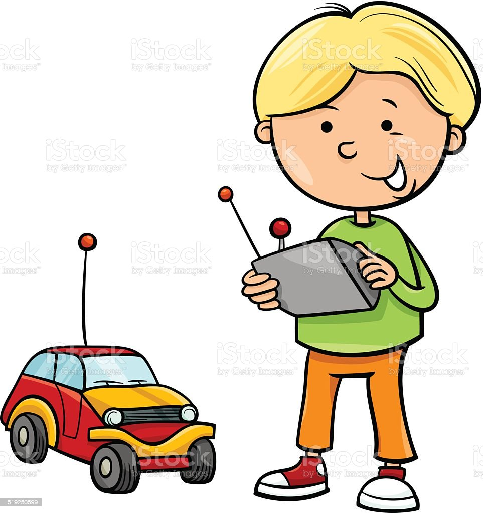 boy and remote car cartoon stock vector art amp more images