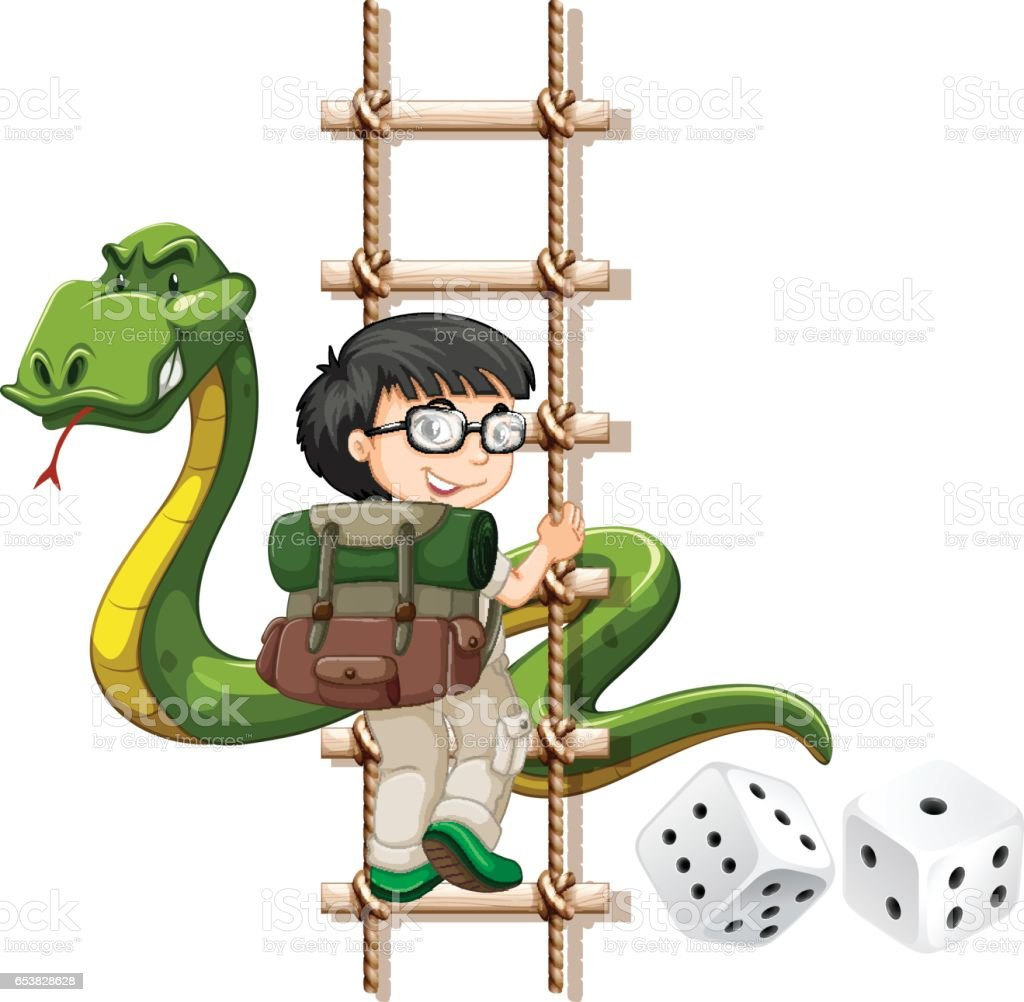 Boy and snake climbing up the ladder vector art illustration