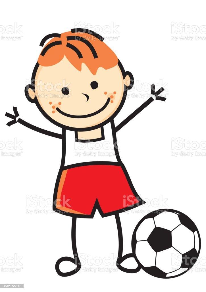 Junge Mit Fussball Ball Stock Vektor Art Und Mehr Bilder Von