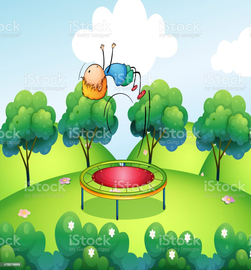 boy and the bouncing platform vector art illustration
