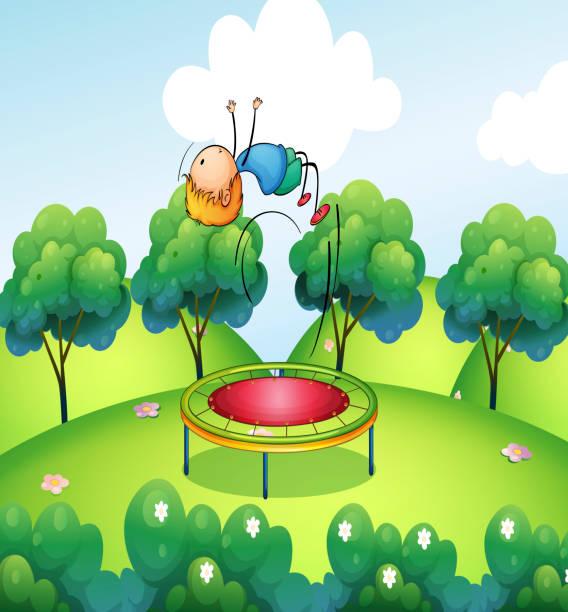 boy and the bouncing platform vector art illustration