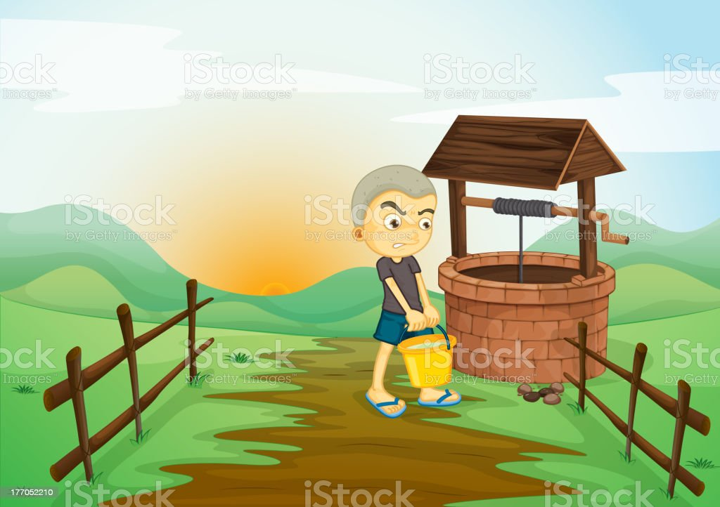 Boy and water well royalty-free stock vector art