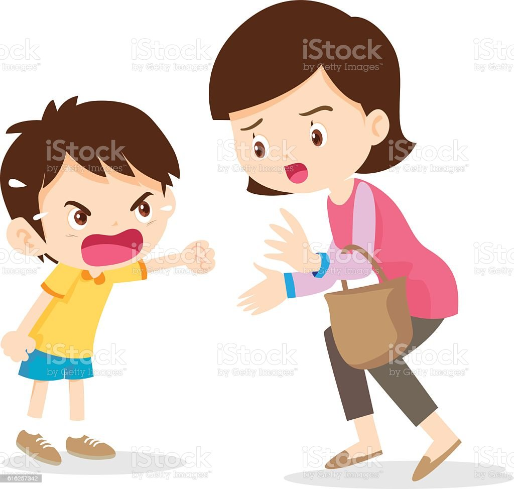 boy angry shouting with mother vector art illustration