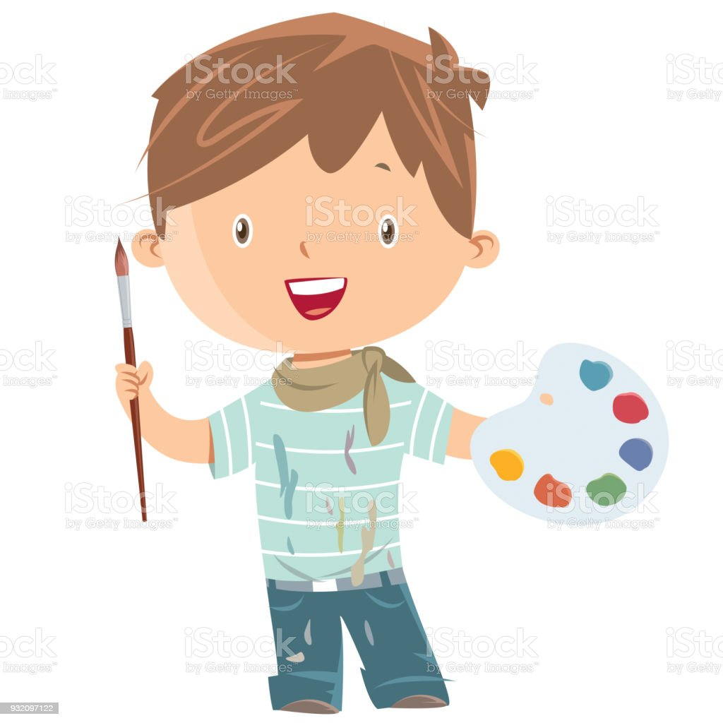 Peintre art garçon - Illustration vectorielle