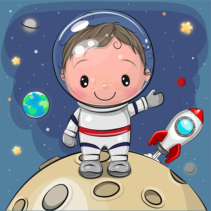 Boy astronaut on the moon on a space background