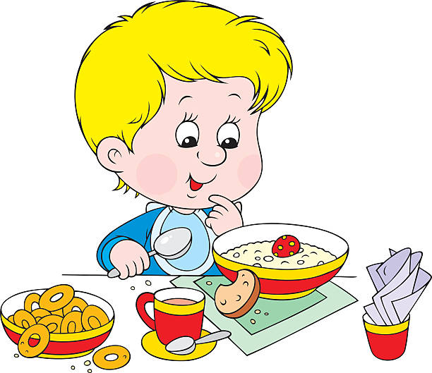 Best Eating Child Breakfast Cartoon Illustrations, Royalty ...