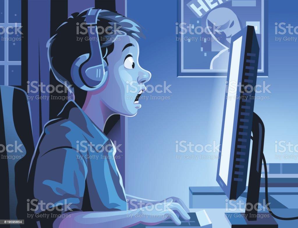 Boy At Computer Late At Night vector art illustration