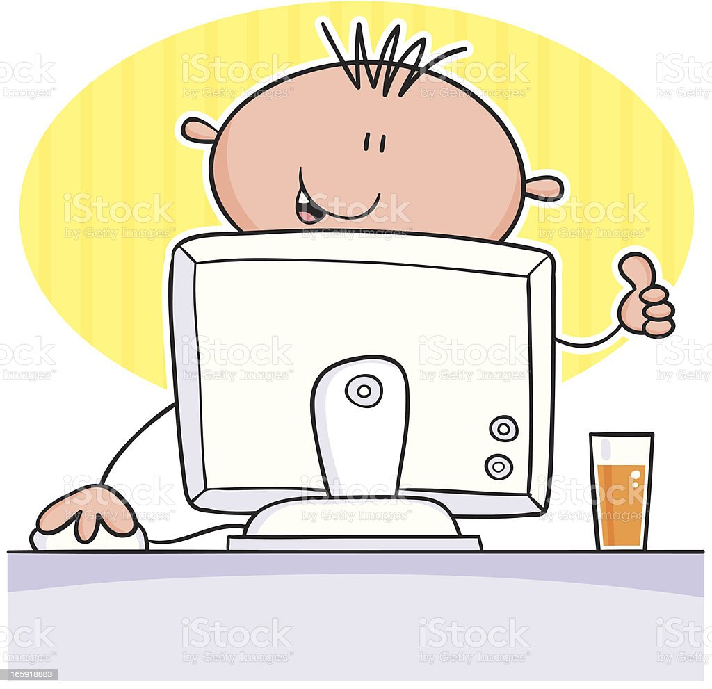 Boy at computer royalty-free stock vector art