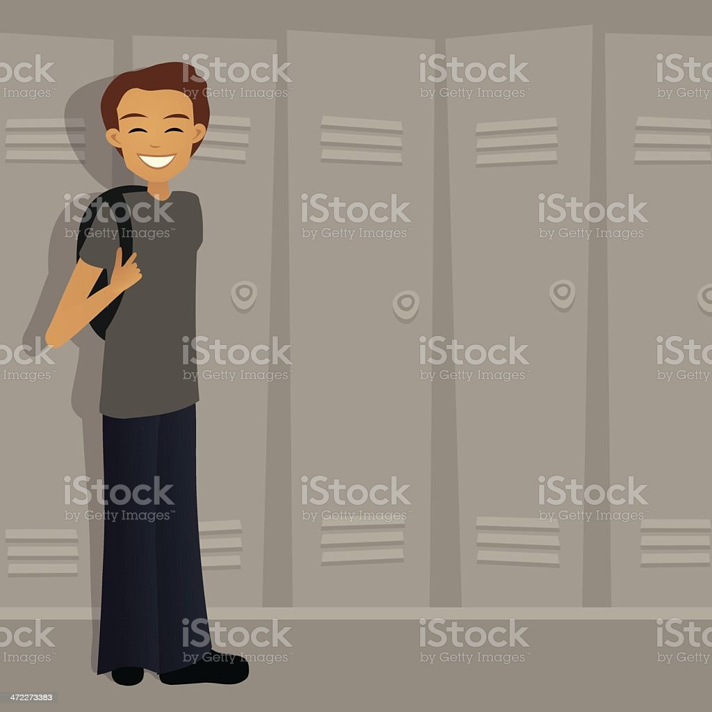 Boy at school by lockers royalty-free boy at school by lockers stock vector art & more images of adolescence