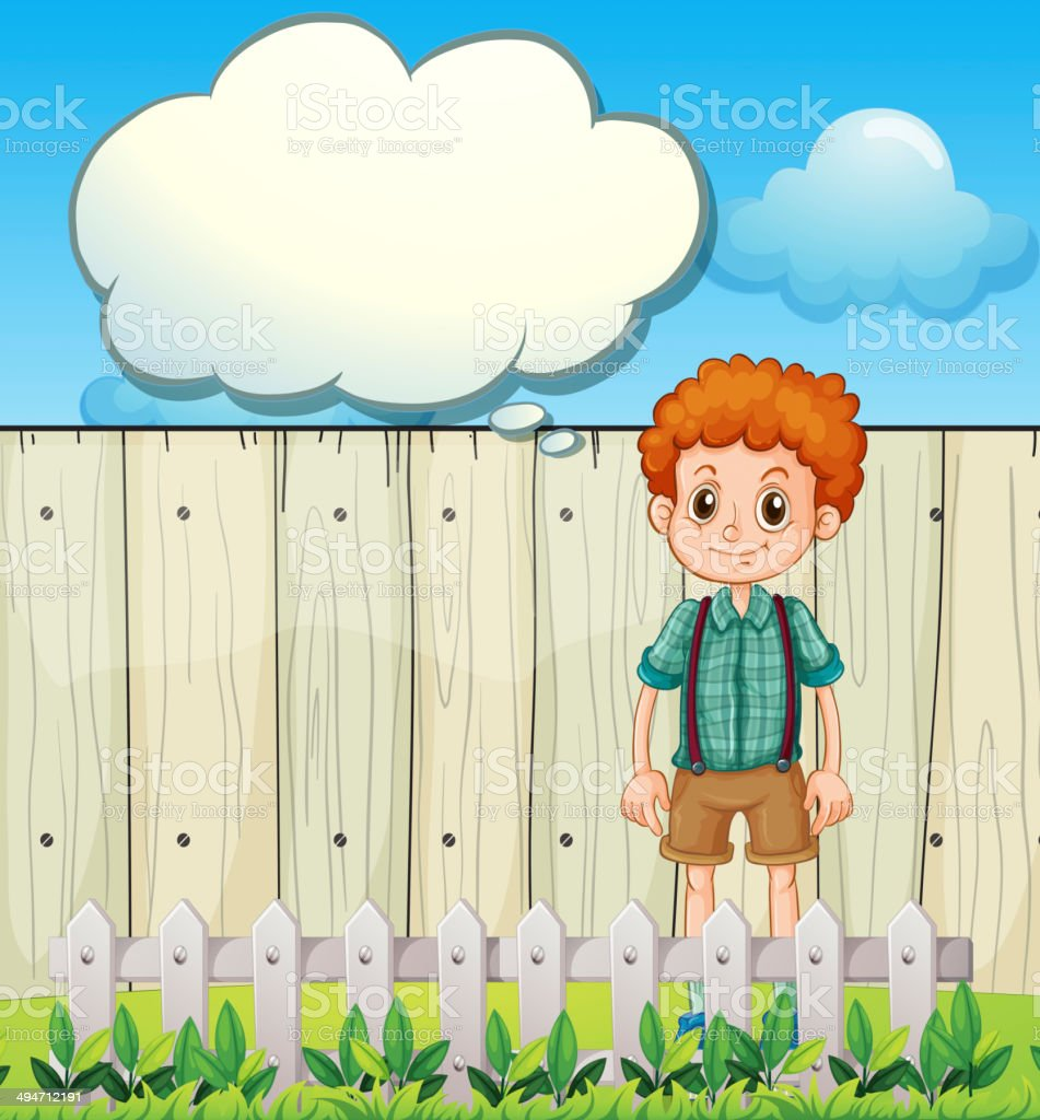 Boy at the backyard with an empty callout royalty-free boy at the backyard with an empty callout stock vector art & more images of adult