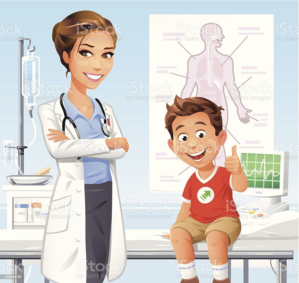 Boy at the Doctor vector art illustration