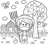 Little farmer boy at the farm with barn, farmhouse, fence and apple tree. Black and white coloring book page