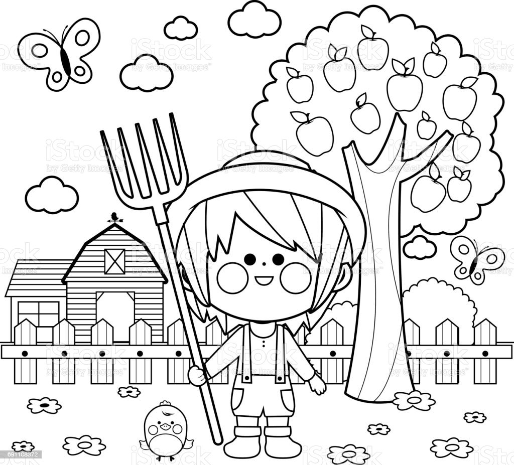 Boy at the farm. Coloring book page vector art illustration