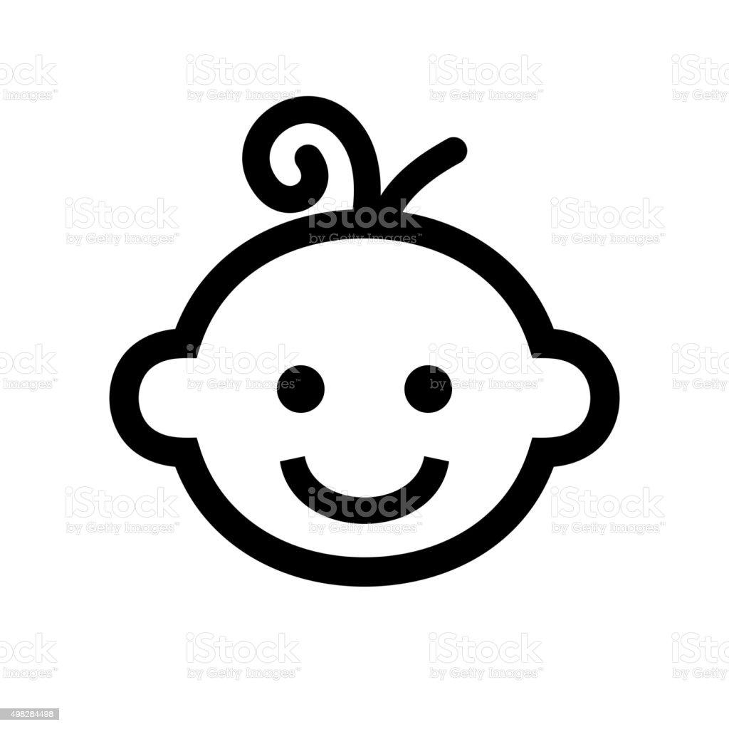 Boy Baby Face Icon Logo. Vector vector art illustration