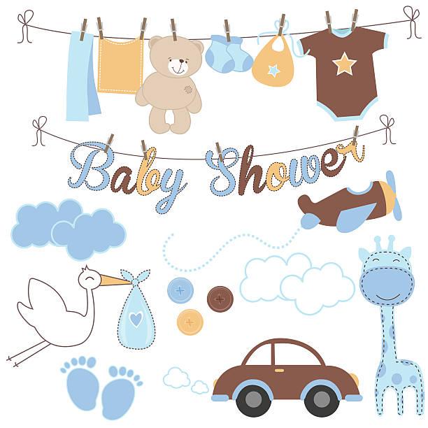 baby junge dusche elemente - bodysuit stock-grafiken, -clipart, -cartoons und -symbole