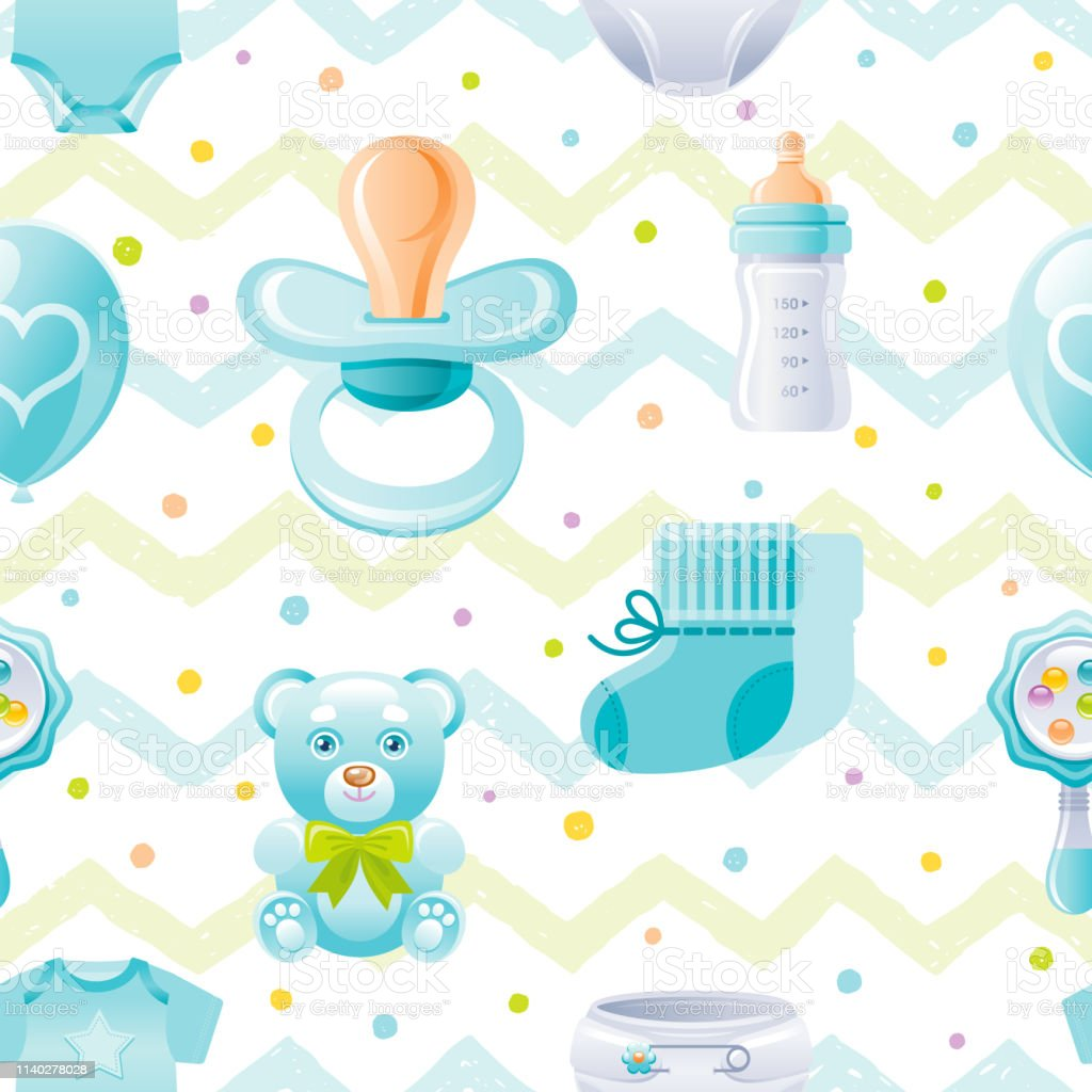 Boy Baby Shower Seamless Pattern Cute Cartoon Wallpaper Background Whith Kid Icons Pacifier Bear Toy Baby Bottle Shoes Isolated On White Background With Hand Drawn Blue Zig Zag Polka Dot Stock Illustration