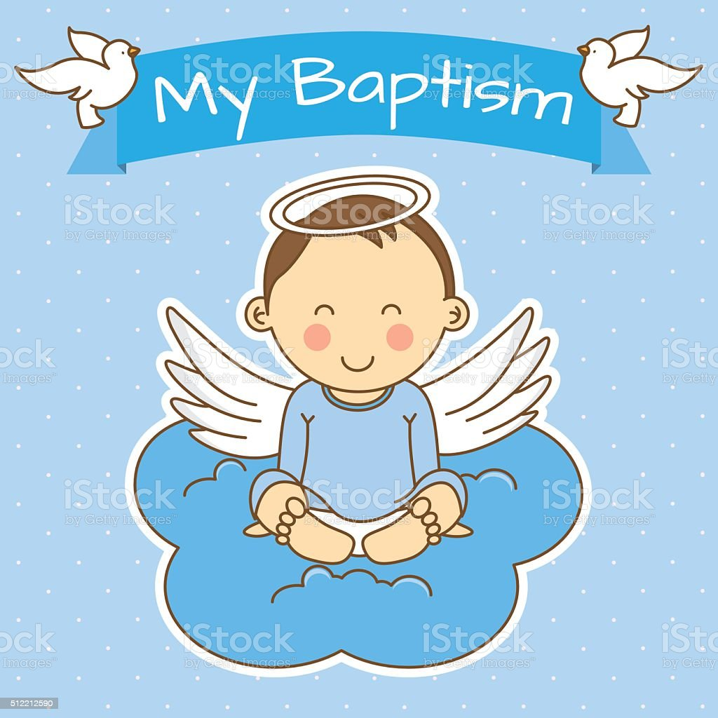 boy baptism vector art illustration