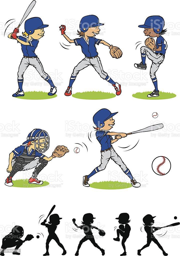 Boy baseball character vector art illustration