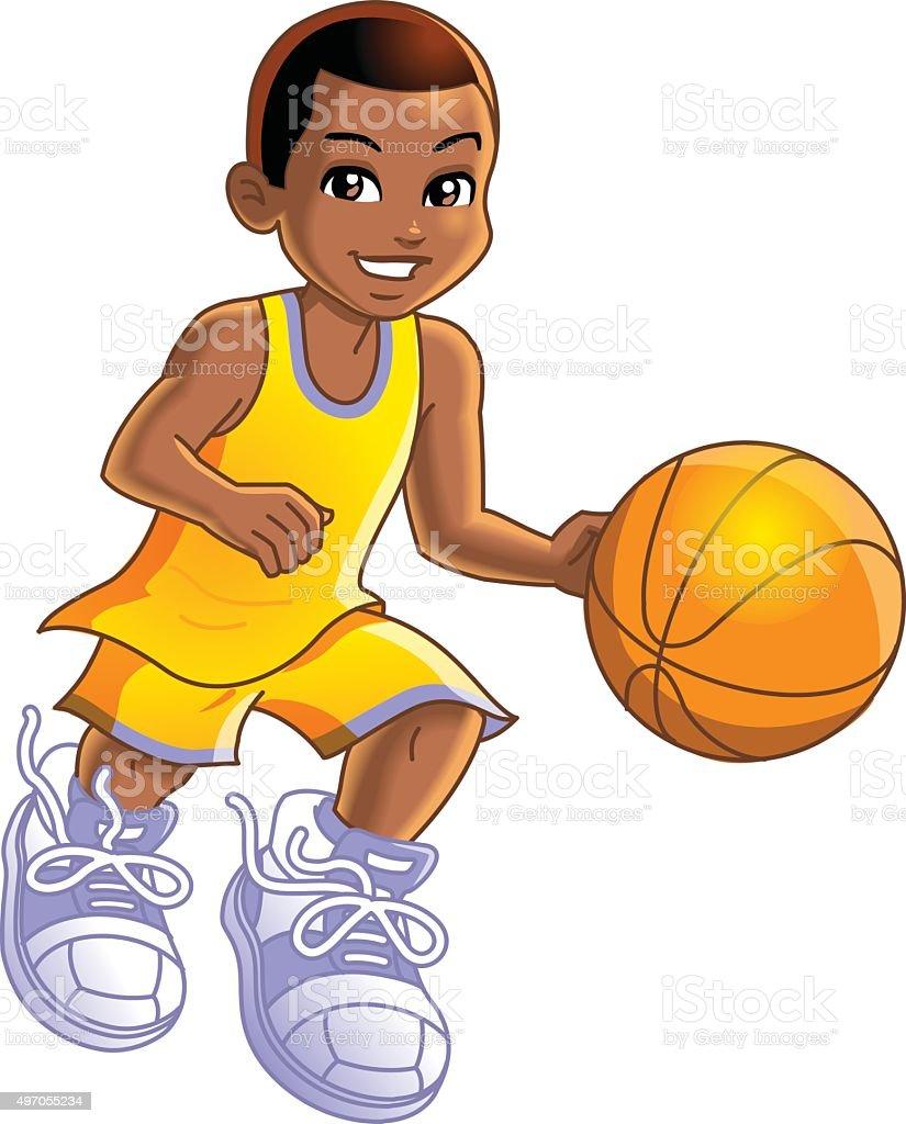 Boy Basketball Player vector art illustration