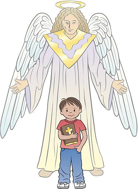 junge bibel angel c - schutzengel stock-grafiken, -clipart, -cartoons und -symbole