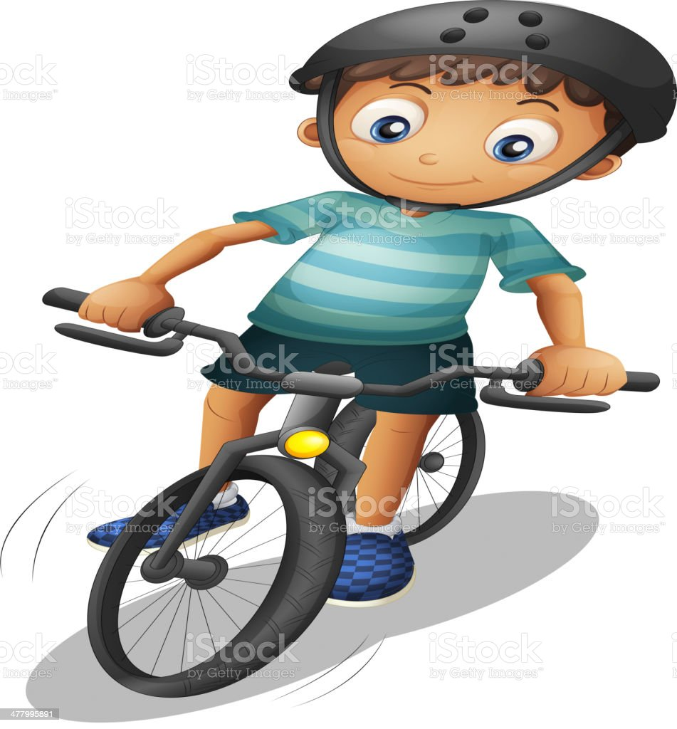 Boy biking wearing a helmet royalty-free stock vector art