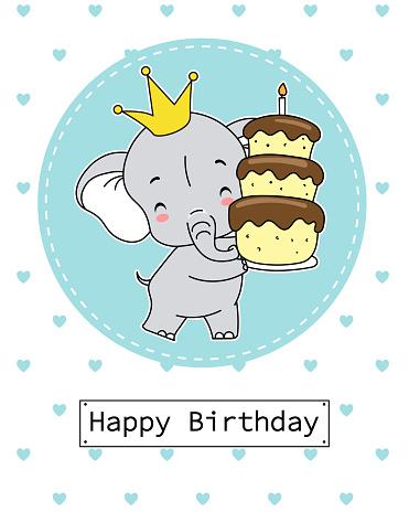 Boy birthday card. Elephant with cake.