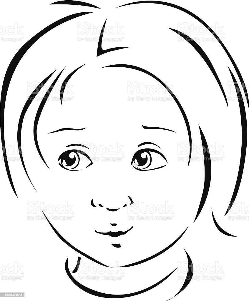 boy black line illustration royalty-free stock vector art